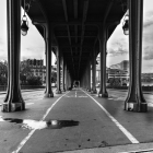 Pont de bir hakeim metro bridge in black and white paris france